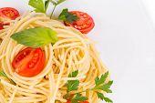 foto of italian parsley  - Italian pasta with basil and parsley - JPG