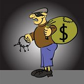 pic of plunder  - colorful illustration with cartoon thief on grey background - JPG