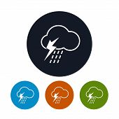 Icon cloud with thunderstorm ,   vector illustration