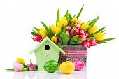 Easter Eggs With Tulips Flowers And Birdhouse,