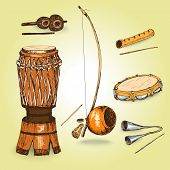 Collection of musical instruments of capoeira.