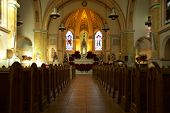 foto of pews  - The inside of a Catholic church with the pews - JPG