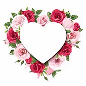 foto of rose flower  - Vector background with heart and red and pink roses and lisianthus flowers - JPG