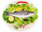 Fresh seabass fish with vegetables
