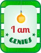Green, white striped card with text I am genius