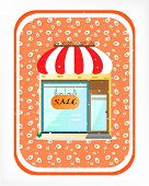 Advertising label, shop with striped awning and text sale