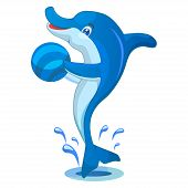 Dolphin with Ball Vector