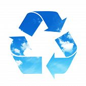 image of reuse recycle  - Recycle sky symbol isolated on white background - JPG