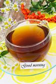 image of rowan berry  - Good morning card with cup of tea - JPG