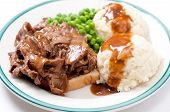 pic of diners  - open faced diner style hot beef sandwich with mashed potatoes - JPG