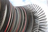 pic of turbines  - Detail of a power plant turbine with different turbine blades - JPG
