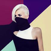 Blond Ninja Lady Style. Fashion Original Photo