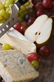 Molded Cheese, Grapes And Pears Close-up Vertical