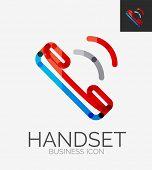 Minimal line design logo, phone handset, business icon, branding emblem