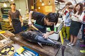 Cutting A Giant Tuna In Kuromon Market In Osaka, Japan