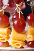 Fingerfood: Grapes And Cheese On Skewers Macro