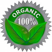 stock photo of 100 percent  - organic green and grey 100 percent product label - JPG