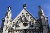 VIENNA, AUSTRIA - OCTOBER 10: Statue of Saint from west portal of gothic church Maria am Gestade in Vienna, Austria on October 10, 2014.
