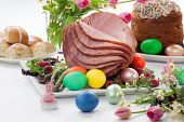 picture of ester  - Whole baked honey sliced ham with fresh raspberry asparagus dyed Ester eggs Easter cake and cross buns - JPG