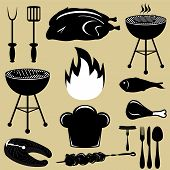 stock photo of dutch oven  - Set icons barbecue grill on a gray background vector - JPG