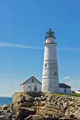 stock photo of lighthouse  - Portrait shot of the Boston Lighthouse on a clear day - JPG