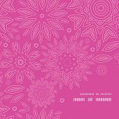 Vector pink abstract flowers texture frame corner pattern background