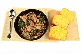 image of black eyes  - Served in black bowl New Years Day Traditional American South cooked meal Chopped Ham and Collard Greens Black - JPG
