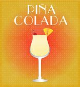 Drinks List Pina Colada With Red & Golden Background