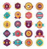 Space Badge Banner Flat Design Background Set