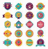 Space Badge Banner Flat Design Background Set,