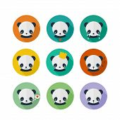 picture of panda  - Panda vector icons set in flat design - JPG