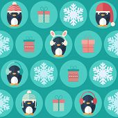 Christmas Flat Seamless Pattern With Gifts And Penguins