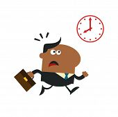 African American Hurried Manager Running Past A Clock Modern Flat Design