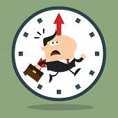 pic of panic  - Cartoon Panic Manager Running In A Clock Modern Flat Design - JPG