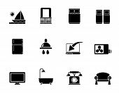 picture of motel  - Silhouette Hotel and motel room facilities icons  - JPG