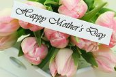 Happy Mother's Day card with pink tulips