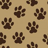 stock photo of paw  - Animal Paw Seamless Pattern Background Vector Illustration - JPG