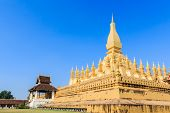Pha That Luang Is A Gold-covered Large Buddhist Stupa.