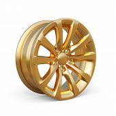 Golden Alloy Rim Isolated On White Background
