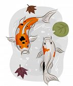 Illustration of a Pair of Koi Fish Swimming in a Pool of Water Littered With Leaves