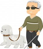 Illustration of a Seeing Eye Dog Guiding a Blind Man