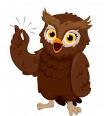 Illustration of an Owl Smiling Happily While Snapping its Fingers