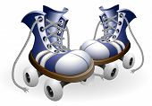 picture of roller-skating  - blue roller skates with untied lace vector illustration isolated on white background - JPG