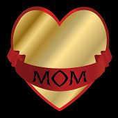 Mothers Day Vector-Golden Heart with a Red Ribbon For Mom