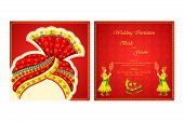 picture of indian wedding  - vector illustration of Indian wedding invitation card - JPG