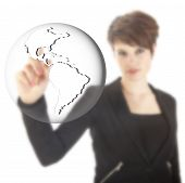Young Businesswoman With Earth Globe Isolated On White Background