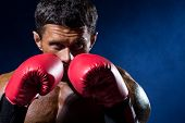 Strong Muscular Boxer In Red Boxing Gloves On A Blue Background.