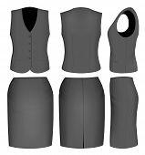 Formal black skirt suit for women (skirt and waistcoat). Vector illustration.