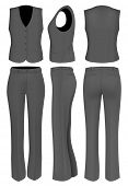 Formal black trousers suit for women (trousers and waistcoat). Vector illustration.