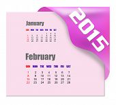 February 2015 calendar with past month series